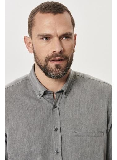 AC&Co / Altınyıldız Classics Tailored Slim Fit Dar Kesim Düğmeli Yaka Kışlık Gömlek 4A2021100078 Gri